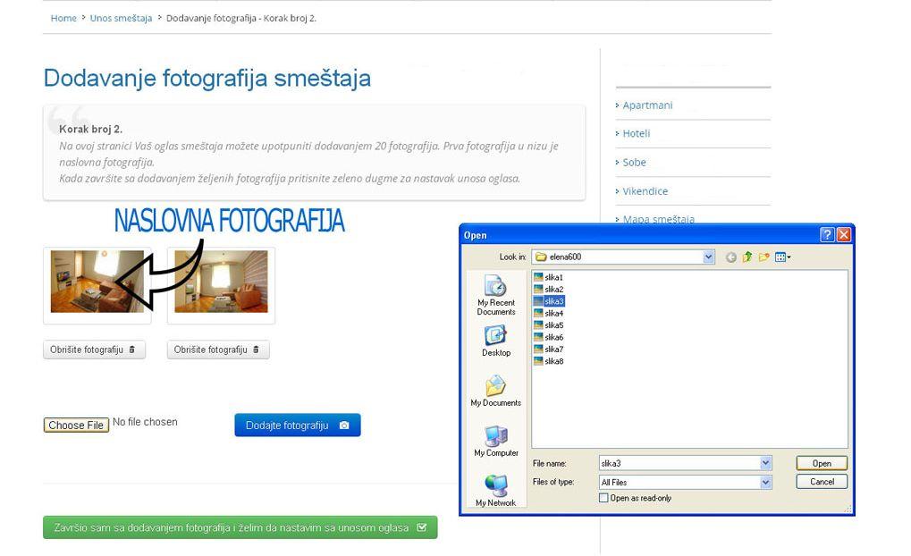 Josanicka Banja  - postavljanje oglasa - uputstvo slika 2.